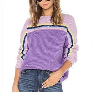 Lovers + Friends Leia Rainbow Purple Sweater S